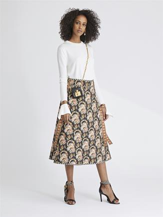 Tapestry Floral King Twill and Stripey Dots Skirt Black Multi