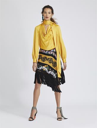 Fringed Gentili Scarf Skirt Saffron Multi