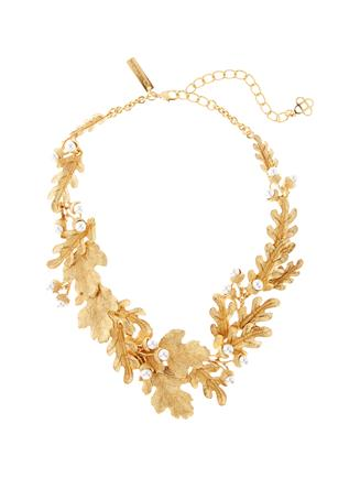 Acorn and Leaf Necklace  Gold