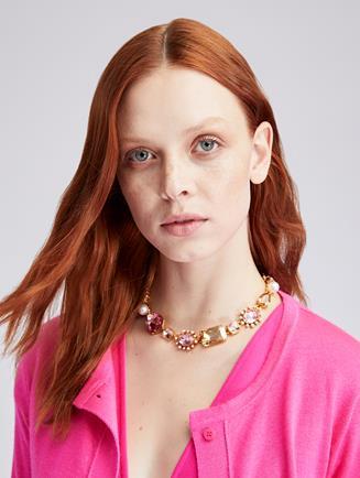 Bold Mixed Jewel Necklace  Blush