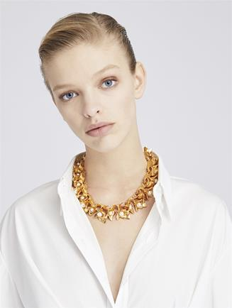 Pearl Flower Necklace  Gold