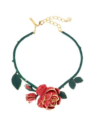 Rose Resin Necklace  Red