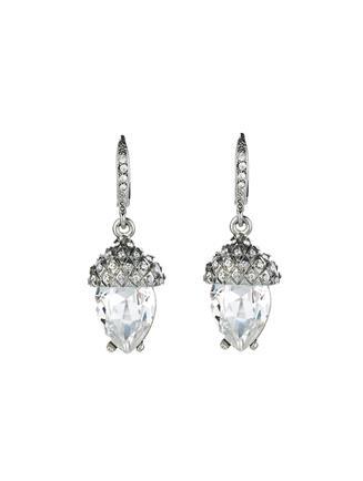 Pavé Acorn Drop Earrings  Crystal