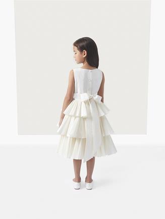 Taffeta Tiered Flower Girl Dress Ivory