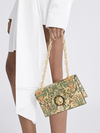Printed Metallic Leather TRO Bag Gold