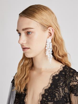 Beaded Cascade Earrings White