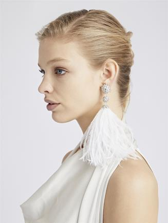 Beaded Feather Earrings  White