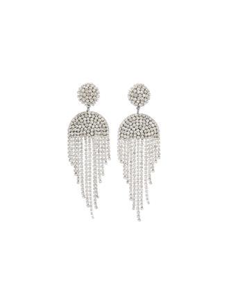 Crystal Draped Fringe Earrings  Crystal