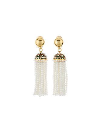 Mosaic Tassel Earrings  White
