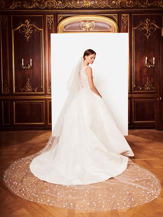 Embroidered Tulle Veil Optic White