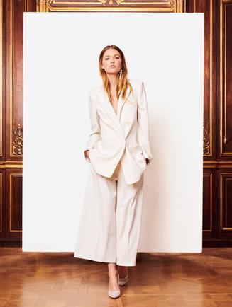 Double-Breasted Gabardine Jacket Ivory