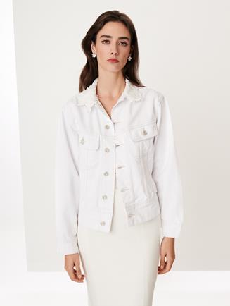 Embroidered Denim Lucy Jacket Ivory