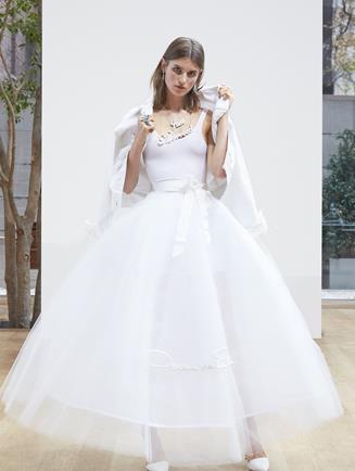 Oscar de la Renta Signature Tulle Lucy Skirt Light Ivory