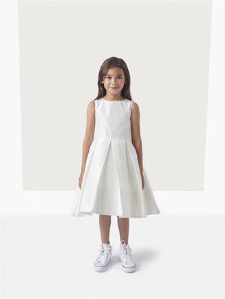 Taffeta Box Pleat Flower Girl Dress with Cape Ivory