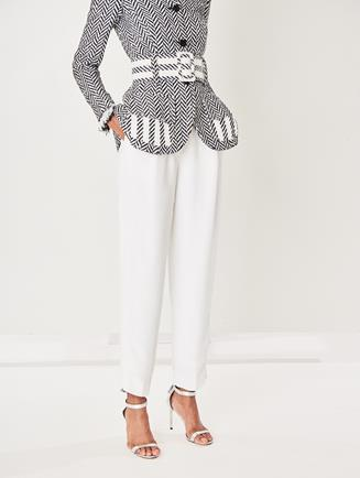 Stretch Wool-Gabardine Pants Ivory