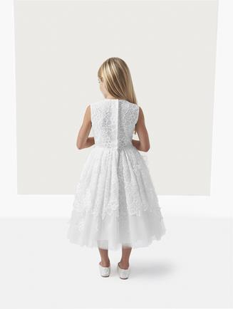 BELLE FLORAL APPLIQUÉ ORGANZA AND TULLE DRESS White