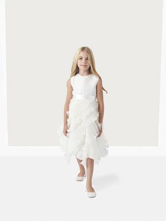 CHARLOTTE ORGANZA DRESS WITH RUFFLE SKIRT White
