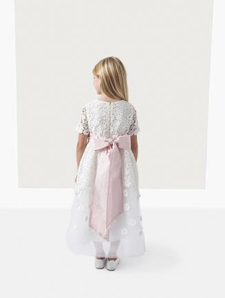 EMMA GUIPURE LACE AND TULLE DRESS White