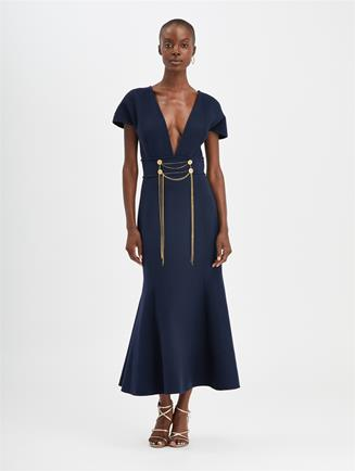 Chain-Embroidered Dress Navy