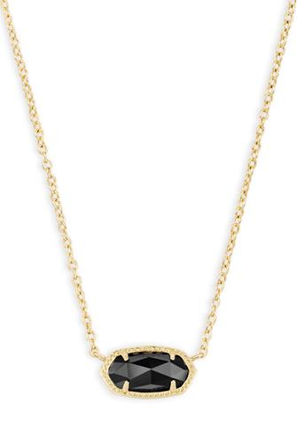 Elisa Black Opaque Glass Integrated Necklace BLACK