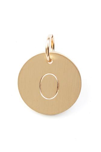 O Initial Disc Necklace Charm GOLD