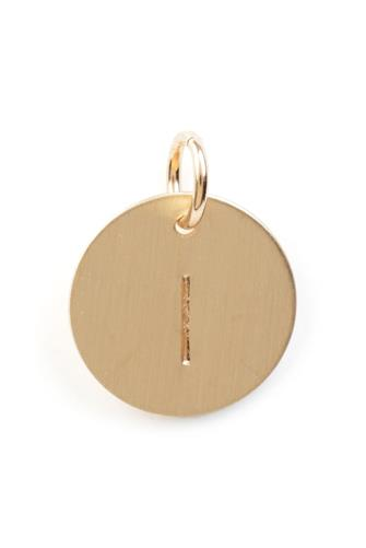 I Initial Disc Necklace Charm GOLD