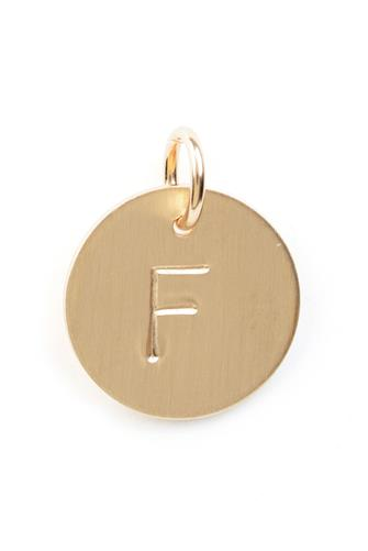 F Initial Disc Necklace Charm GOLD