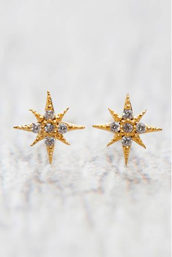Gold Starburst Stud Earrings GOLD
