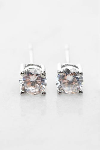 Round Cubic Zirconia Stud Earrings SILVER