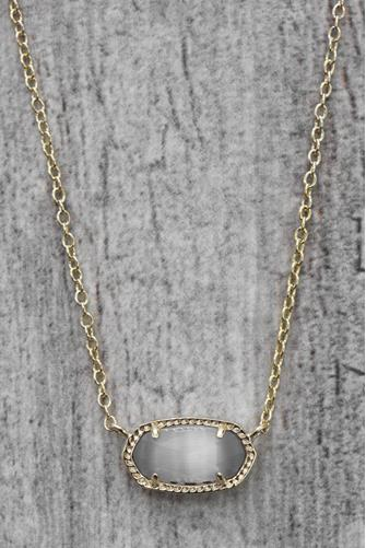 Elisa Slate Cat?s Eye Integrated Necklace GOLD
