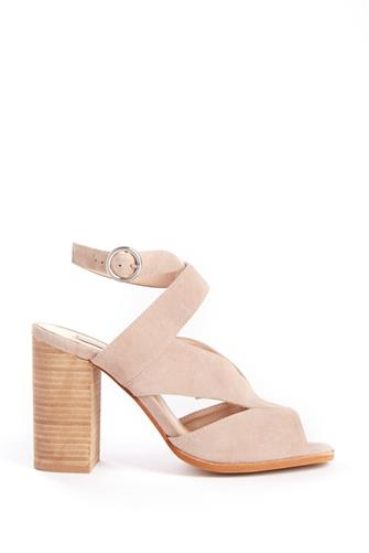 Cut Out Stacked Heel Sandal GREY