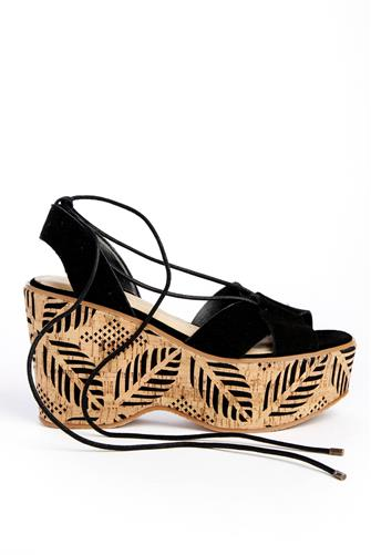 Staycation Printed Cork Wedge BLACK
