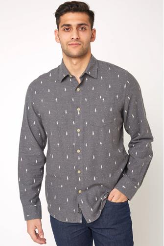 Grayers Dartmouth Printed Heather Flannel Button Down Shirt CHARCOAL