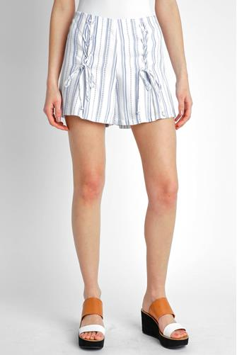 Double Lace-Up Striped Shorts BLUE-MULTI--
