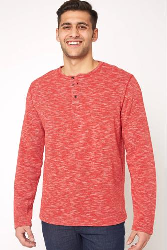 Spacedye Fleece Henley RED