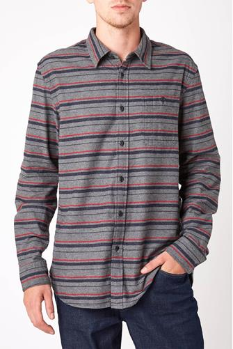 Flannel Stripe Long Sleeve Button Down Shirt CHARCOAL