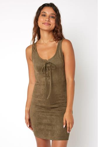 SL LACE UP FRONT SUEDE DRESS OLIVE