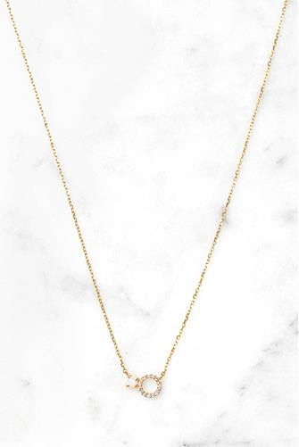 Vermeil Pave Circle Opal Necklace WHITE