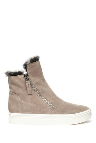 FAUX FUR DOUBLE ZIP SNEAKER TAUPE