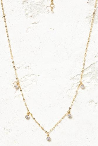 Cubic Zirconia Drop Necklace CLEAR