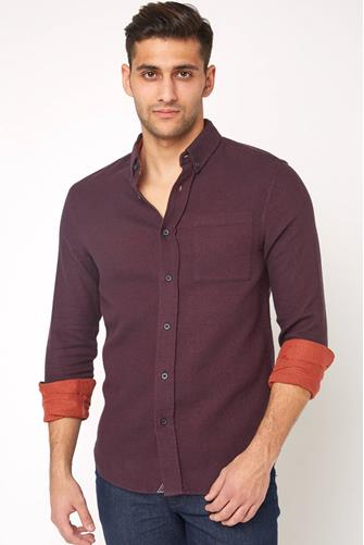 Brushed Melange Flannel Button Down Shirt BURGUNDY