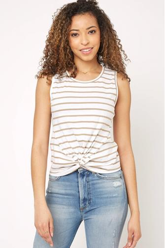 Stripe Knot Front Tank Top TAUPE