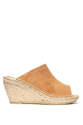 SUEDE SLIP ON ESPADRILLE WEDGE CAMEL