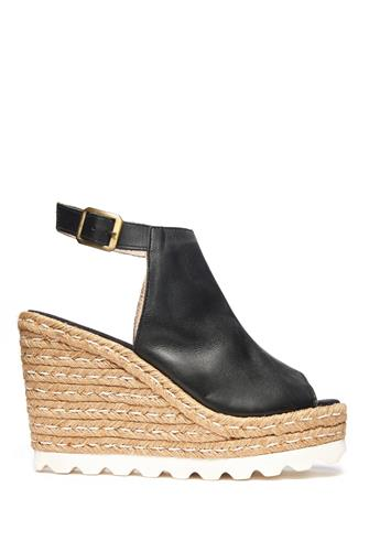 LEATH PEEP TOE ESPADRILLE WEDG BLACK