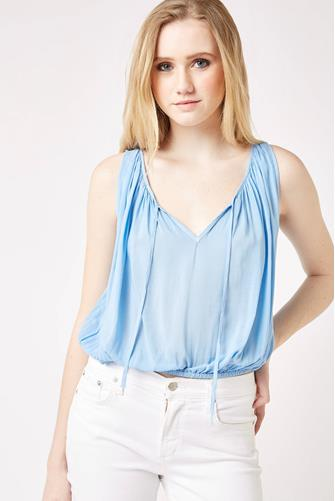 On The Road Banded Hem Tank Top BLUE