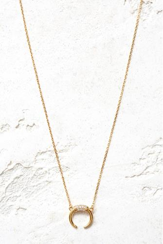 Cubic Zirconia Double Horn Necklace GOLD