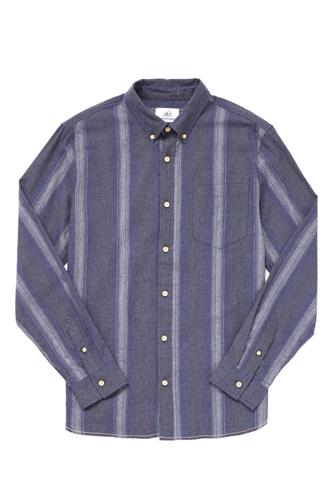 Ombre Vertical Stripe Woven Button Down Shirt NAVY