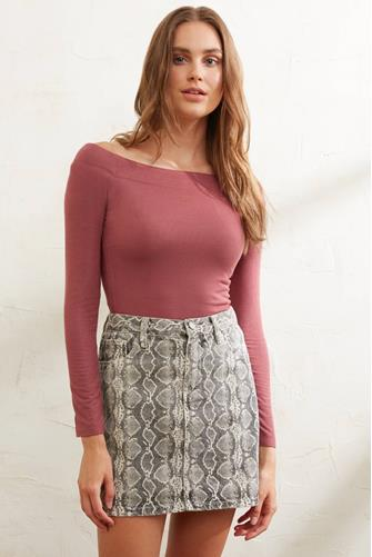 Ribbed Off Shoulder Fitted Top RASPBERRY