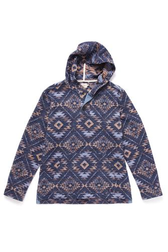 AZTEC PRINT HENLEY PULLOVER BLUE-MULTI--