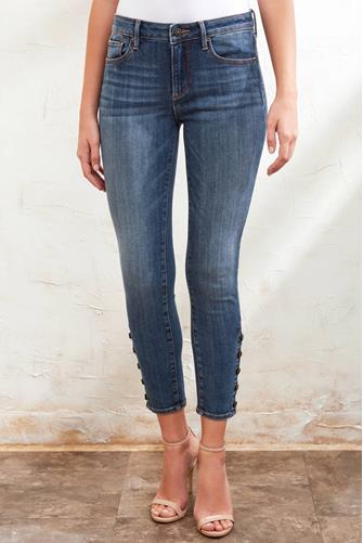BUTTON SNAP ANKLE SKINNY DARK-DENIM